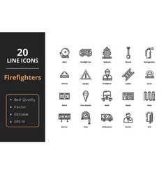 20 high quality firefights line icons vector image
