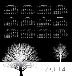 2014 Two Trees Calendar vector image
