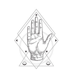 abstract occult symbol vintage style logo or vector image