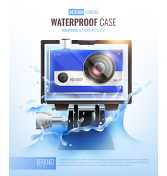 Action camera and waterproof case poster vector