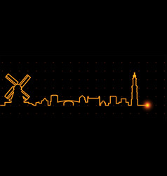 Amsterdam light streak skyline vector