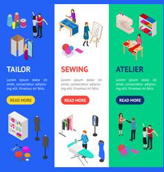 Atelier studio concept banner vertical set 3d vector