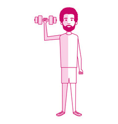 Athletic man weight lifting character vector