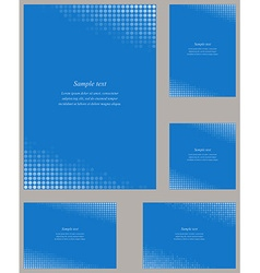 Blue page corner design template set vector