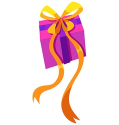 Box of present with yellow ribbon vector