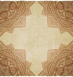 Brown corner pattern grunge paper background vector