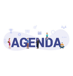 Business agenda concept with big word or text and vector