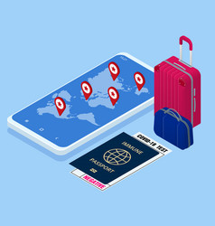 Business trip banner with passport tickets vector