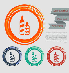 Candle icon on red blue green orange buttons vector