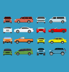 car type model vehicle objects icons set vector image