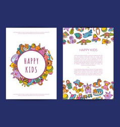 Card template hand drawn children toys on vector