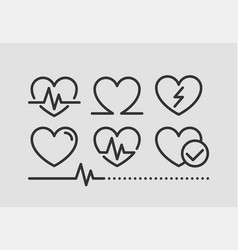 cardio icon line design medical heart icons vector image