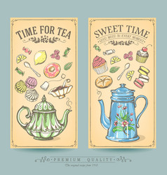 cards pastries and tea vintage posters vector image