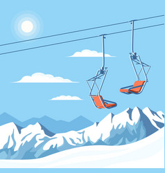 Chair ski lift for mountain skiers vector