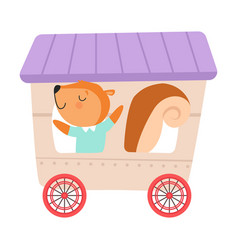 Cheerful red cheeked squirrel driving toy wheeled vector