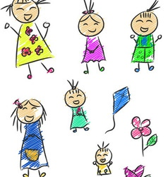 Children Doodle vector image