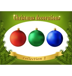 Christmas decorations Collection of color glass vector image