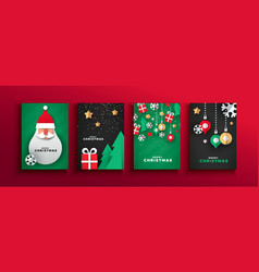 Christmas new year papercut santa claus card set vector