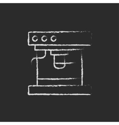 Coffee maker icon drawn in chalk vector image