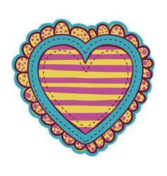 Colorful heart shape with lines pattern with vector