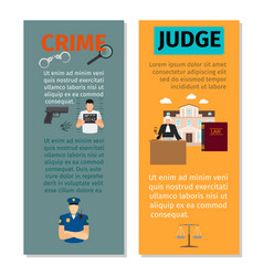 Crime and judge vertical flyers vector