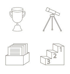 Cup prize telescope catalog in a box and vector