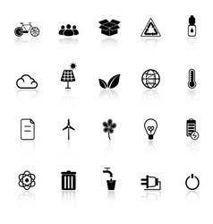 Ecology icons with reflect on white background vector image