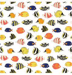 exotic reef fish seamless pattern tile vector image