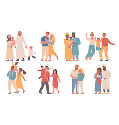 families different nationalities parents vector image