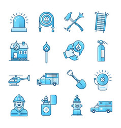 firefighter and fire department blue icons set vector image