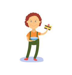 flat boy kid holding piece of cake vector image