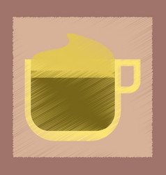 Flat shading style icon coffee with cream vector