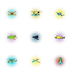 Flying machine icons set pop-art style vector image