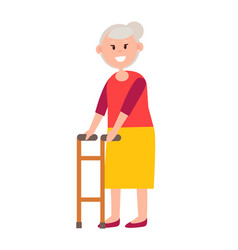 friendly grandmother with grey hair and walker vector image