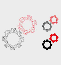 Gears mesh wire frame model and triangle vector