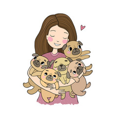 Girl with funny cute pugs cartoon cheerful dogs vector