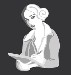 girl with pen gray vector image