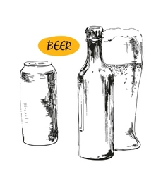 glass beer beer bottles and cans vector image