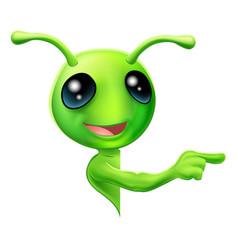 Green alien pointing vector