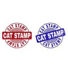 Grunge cat stamp scratched round stamp seals vector