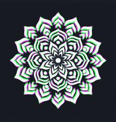 holographic indian lotus flower mandala vector image