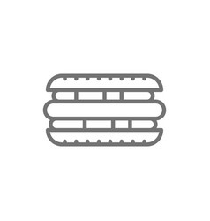 hot dog sandwich street food line icon vector image