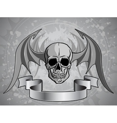 Human Skull with wings vector image