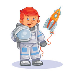 Icon of small child astronaut in a space vector