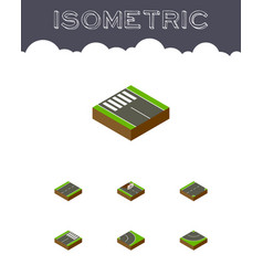 Isometric way set of road strip driveway and vector