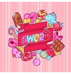 Kawaii background with sweets and candies Crazy vector