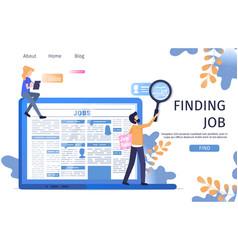Man character finding job online laptop research vector