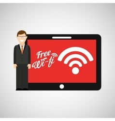 Man tablet free wifi icon design vector