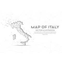 map italy low poly wire frame on white vector image
