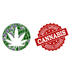 Medical cannabis mosaic of wine bottles and grape vector